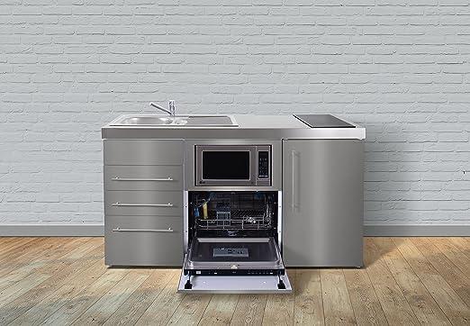 Miniküche Mit Geschirrspüler Ohne Kühlschrank : Miniküche premiumline mpgsmess u edelstahl u kühlschrank