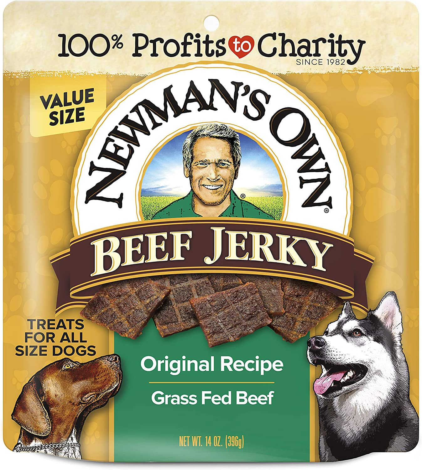 Newman's Own Beef Jerky Treats for Dogs, Original Recipe, 14 oz Bag