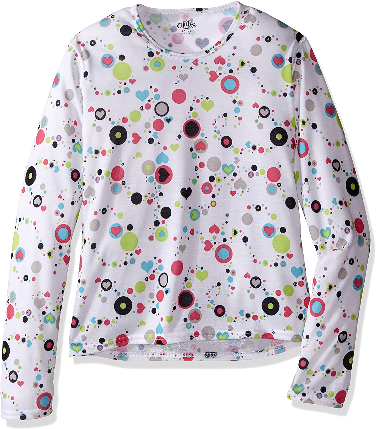 Hot Chillys Youth Pepper Skins Print Crewneck Medium Dots /& Hearts-White