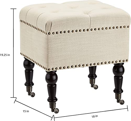 First Hill Tufted Ottoman Casters Beige Fabric