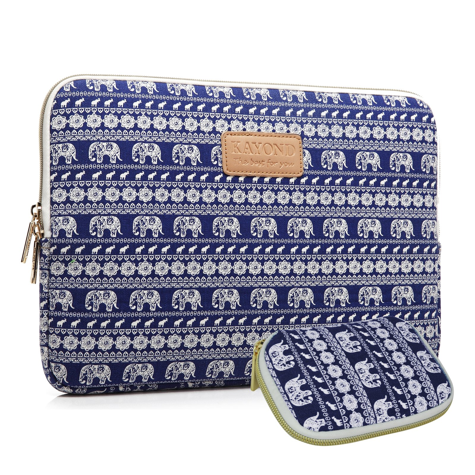 Kayond KY-23 Canvas Fabric Sleeve for 17-Inch Laptops - Elephant Patterns