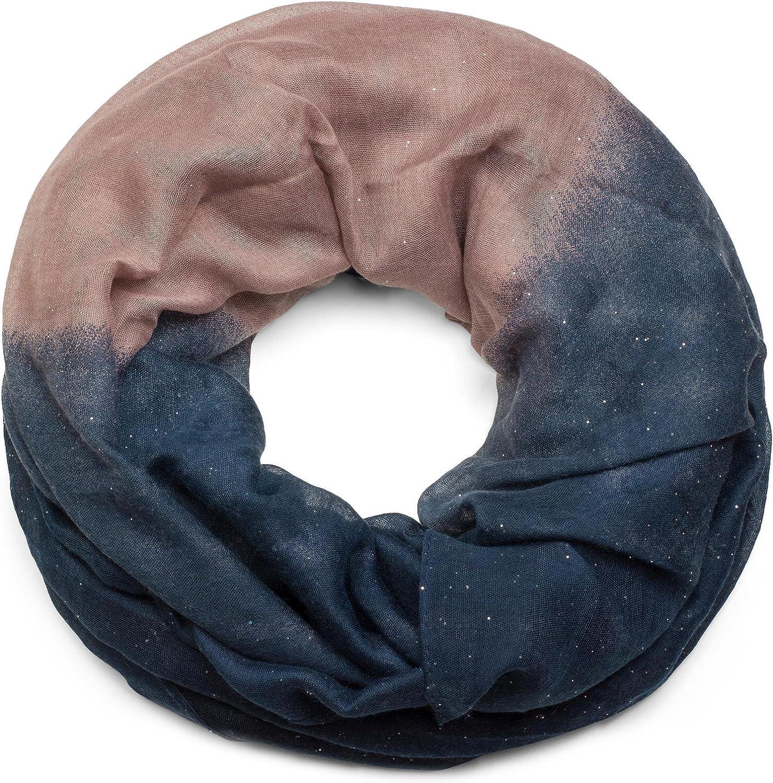 donna 01017058 paillettes styleBREAKER raffinata sciarpa ad anello glitter con motivo colorato foulard sciarpa ad anello