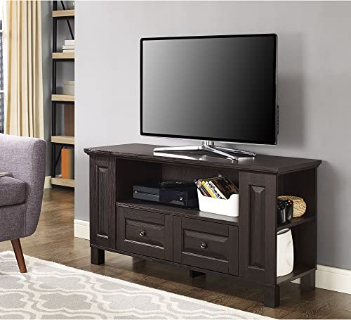 Walker Edison Furniture Company Traditional Wood Universal Stand with Storage Drawers for TV s up to 50 Flat Screen Living Room Entertainment Center, 44 Inch, Espresso Brown