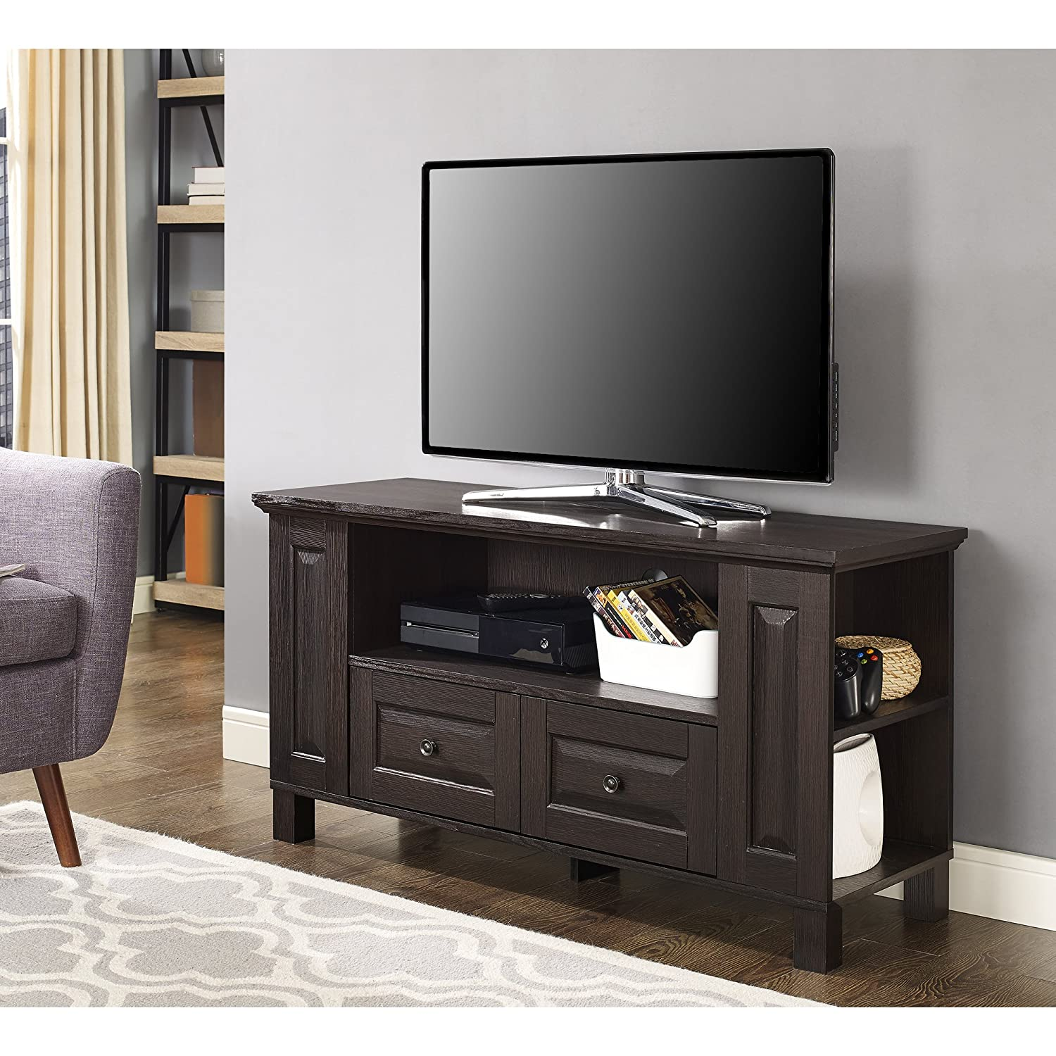 WE Furniture Traditional Wood Universal Stand with Storage Drawers for TV s up to 50 Flat Screen Living Room Entertainment Center, 44 , Espresso