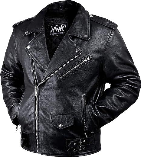 Amazon.com: Chaqueta de piel para motociclista, para hombre ...