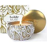 La Jolie Muse Bougie parfumée à la cire de soja à 100% Aromathérapie à la vanille et à la noix de coco pour soulagement de stress boite de voyage de 45Heures, cadeau fête des mères