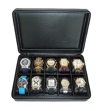Amazon.com: 10 Watch Briefcase Black Carbon Fiber Zippered Travel Storage  Case 50MM Menu0027u0027s Gift: Watches