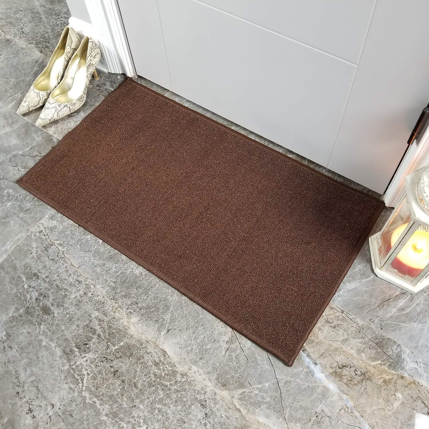 Buy 18 X 31 Brown Anti Bacterial Rubber Back Doormat Non Skid Slip Rug 18 X31 Solid Brown Plain Color Interior Entrance Decorative Low Profile Modern Indoor Front Inside Kitchen Thin Floor Runner Door Mats For Home Online At Low Prices In