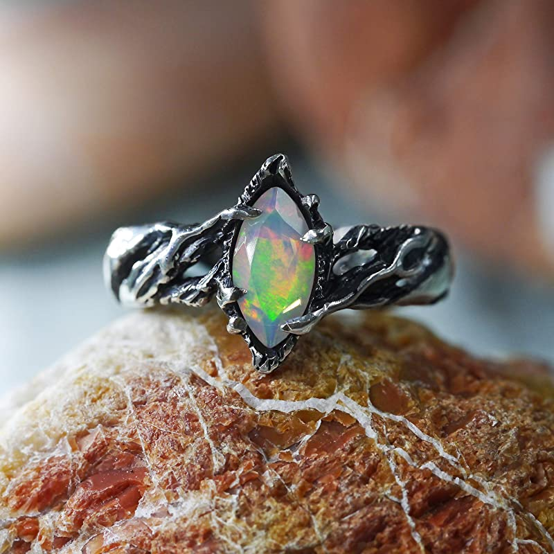Opal Wooden Ring,Gemstone Ring,Ethiopian Opal Ring,Multi Fire Ring,Unisex Ring,Wedding Ring,Handmade Ring,Opal Jewelry,Stackable Ring