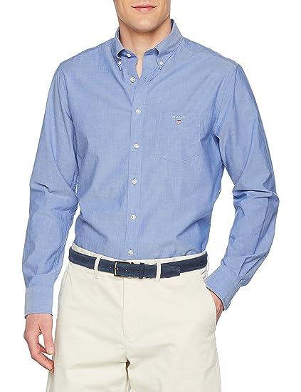 383dcb90e8 GANT Men's Classic Broadcloth Regular Shirt, (College Blue), Small (Size: