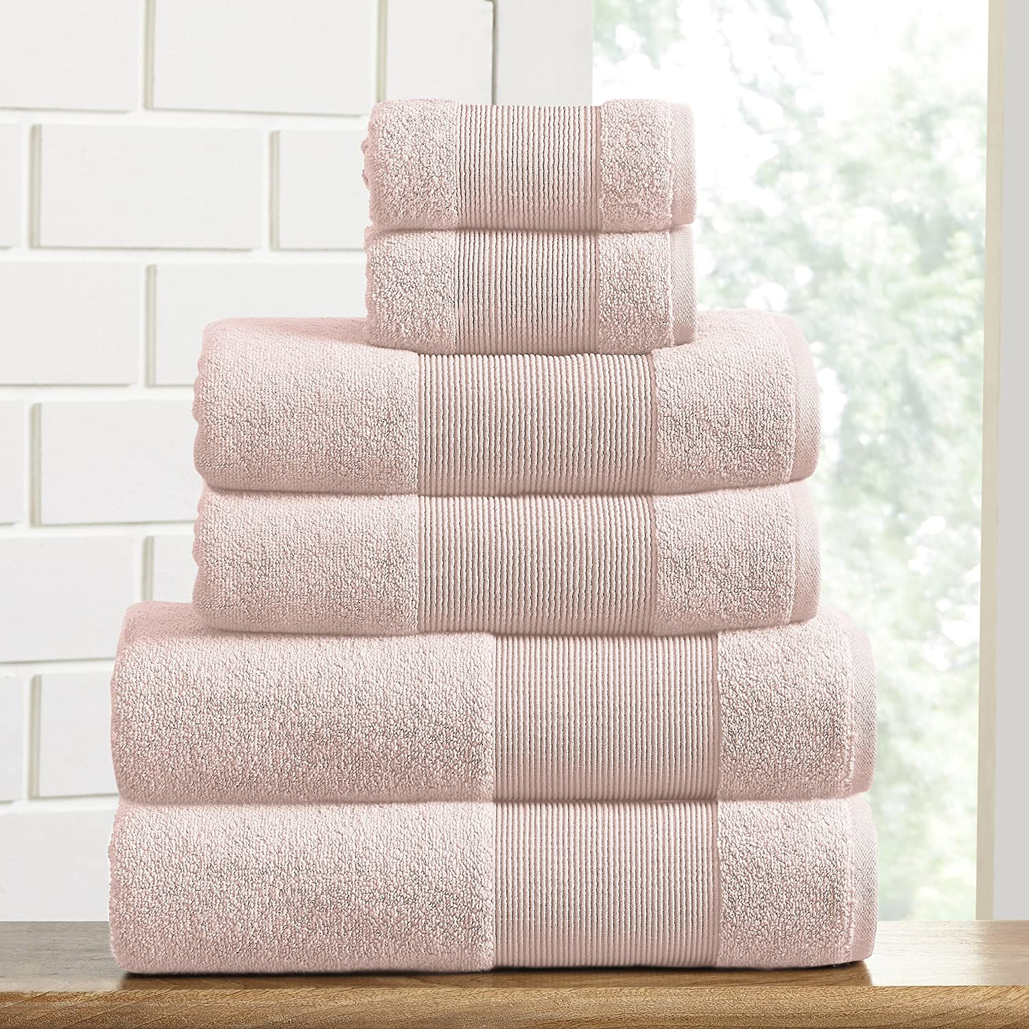 Ivory Amrapur Overseas Air Cloud 100-Percent Combed Cotton Towel Set 6-Piece