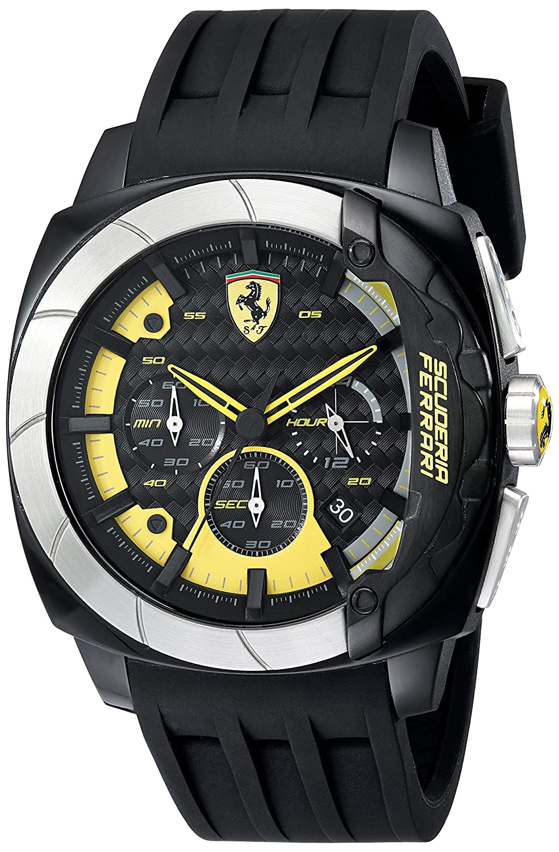 Amazon.com: Ferrari Mens 830206 Aerodinamico Black Watchwith Silicone Strap: Watches