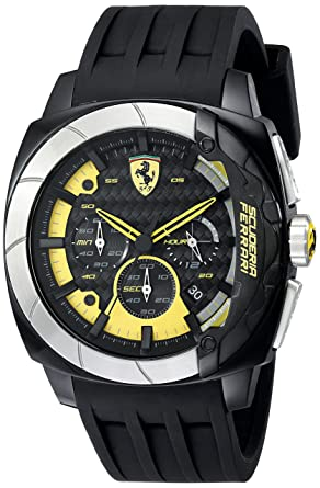 52c26a3244d Image Unavailable. Image not available for. Color  Ferrari Men s 830206  Aerodinamico Black Watchwith Silicone Strap