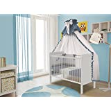 Polini Kids Babybett Gitterbett Beistellbett mit verstellbarem Gitter 120x60 Simple 220 in weiß,3037-04