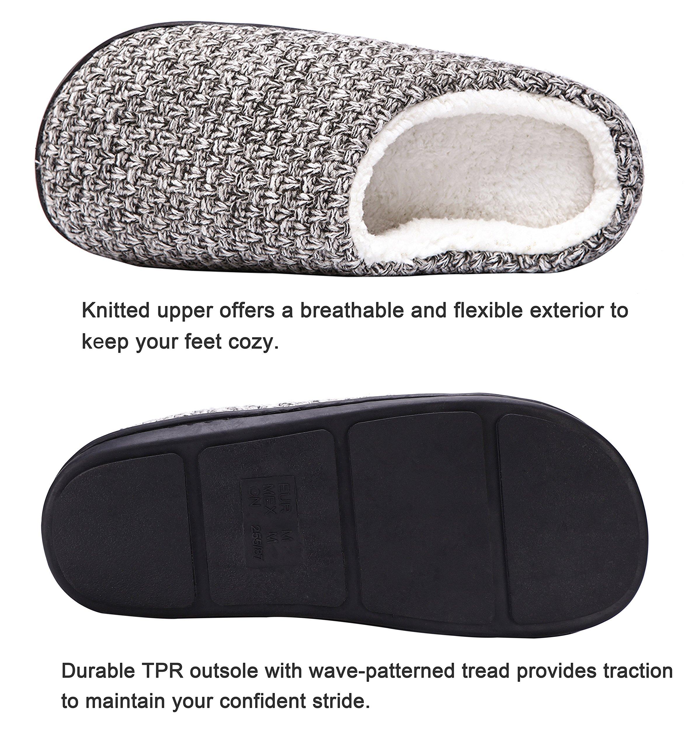 DRSLPAR House Memory Foam Slippers Comfort Plush Lining Slip-on Knit Indoor Outdoor Shoes for Men Women(Grey-Beige X-Large) by DRSLPAR (Image #5)