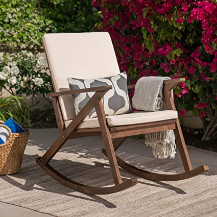 Great Deal Furniture Louise Outdoor Acacia Wood Rocking Chair With Cushion, Dark  Brown And Cream