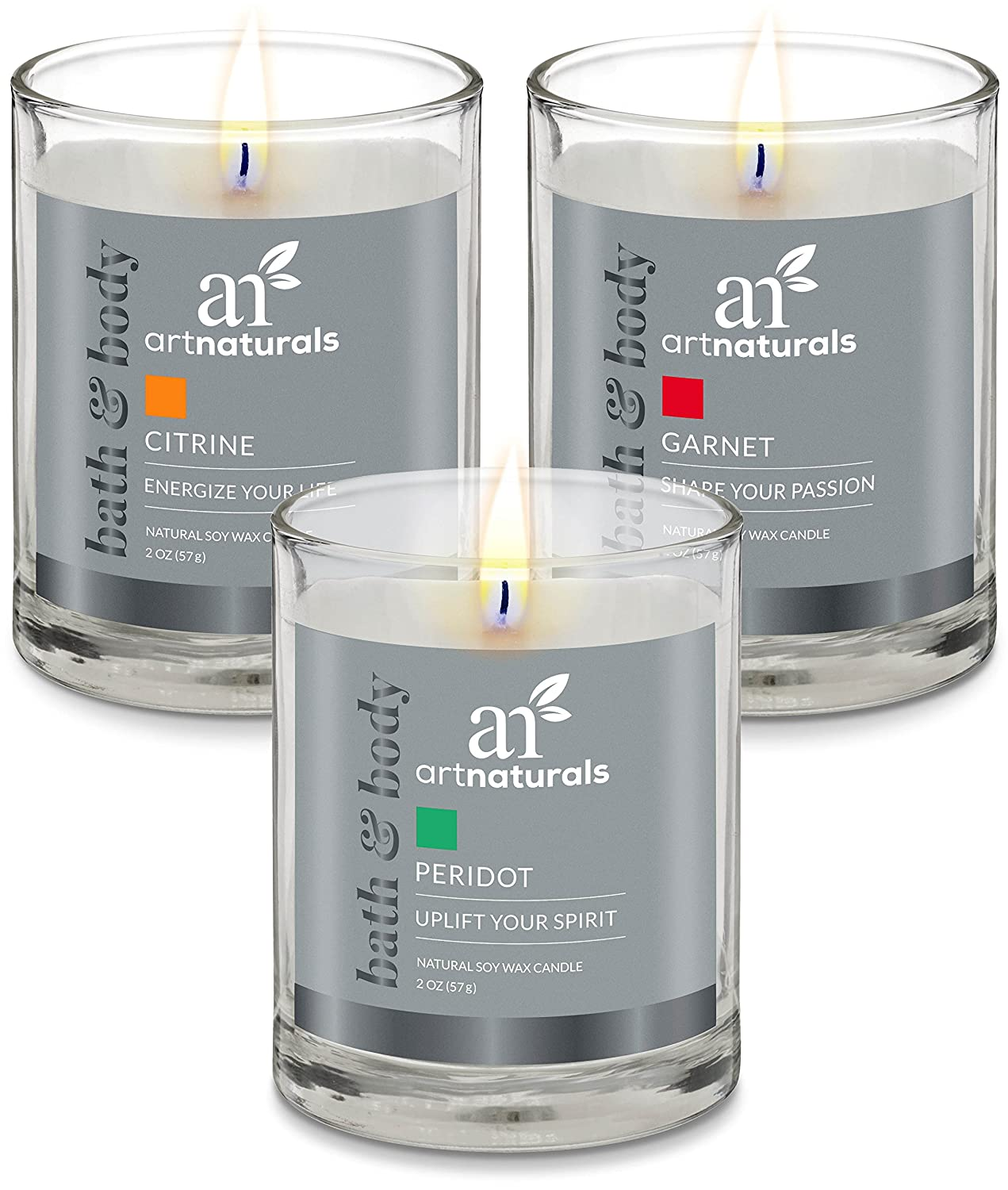 ArtNaturals Scented Aromatherapy Candle Set – 3 Piece Gift Set of Fragrance Soy Wax - Made in USA with Essential Oils – for Stress Relief and Relaxation ANAA-0602
