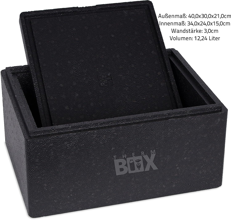 Profi Box M 40,0/x 30,0/x 21,0/cm V = 12,24/L /Fuerte /& robusto reutilizable aislante Caja t/érmica Caja nevera port/átil calor Box Pizza/ pared: 3,0/cm
