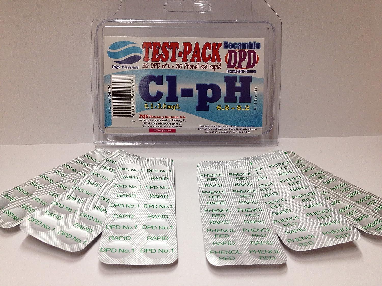 Recambio Test DPD (30 pastillas DPD1 + 30 pastillas Phenol Red) para piscinas y spas.