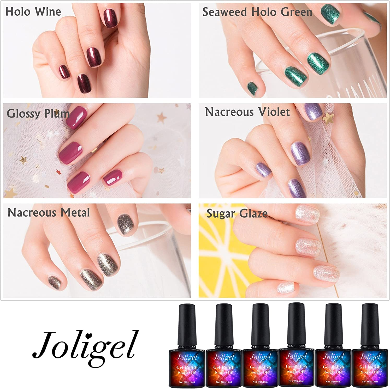 Joligel 6x Gel Nail Polish Holographic Glitter Set of 5 + Glossy Sugar Plum Female Pink, Semi Permanent Shellac UV LED for Professional Manicure Nail Art Design, Burgundy holo red + Seaweed holo green + Glossy plum + Pearly violet + Nacreous metal + Sugar