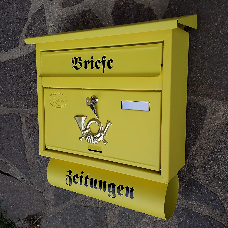 Anthrazit R/&D Gro/ßer Briefkasten//Postkasten XXL Anthrazit mit Abnehmbarer Zeitungsrolle Flachdach Katalogeinwurf Zeitungsfach