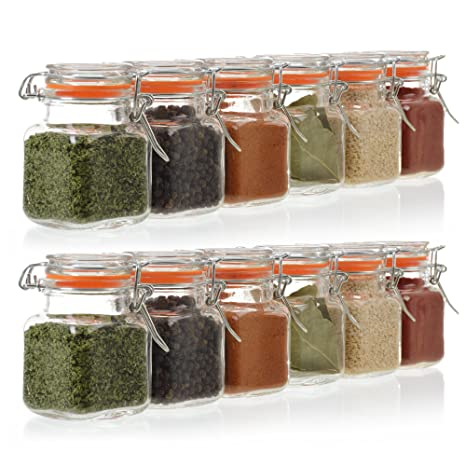 24 Pack   3.4 Ounce Mini Square Glass Spice Jar With Orange Flip Top Gasket