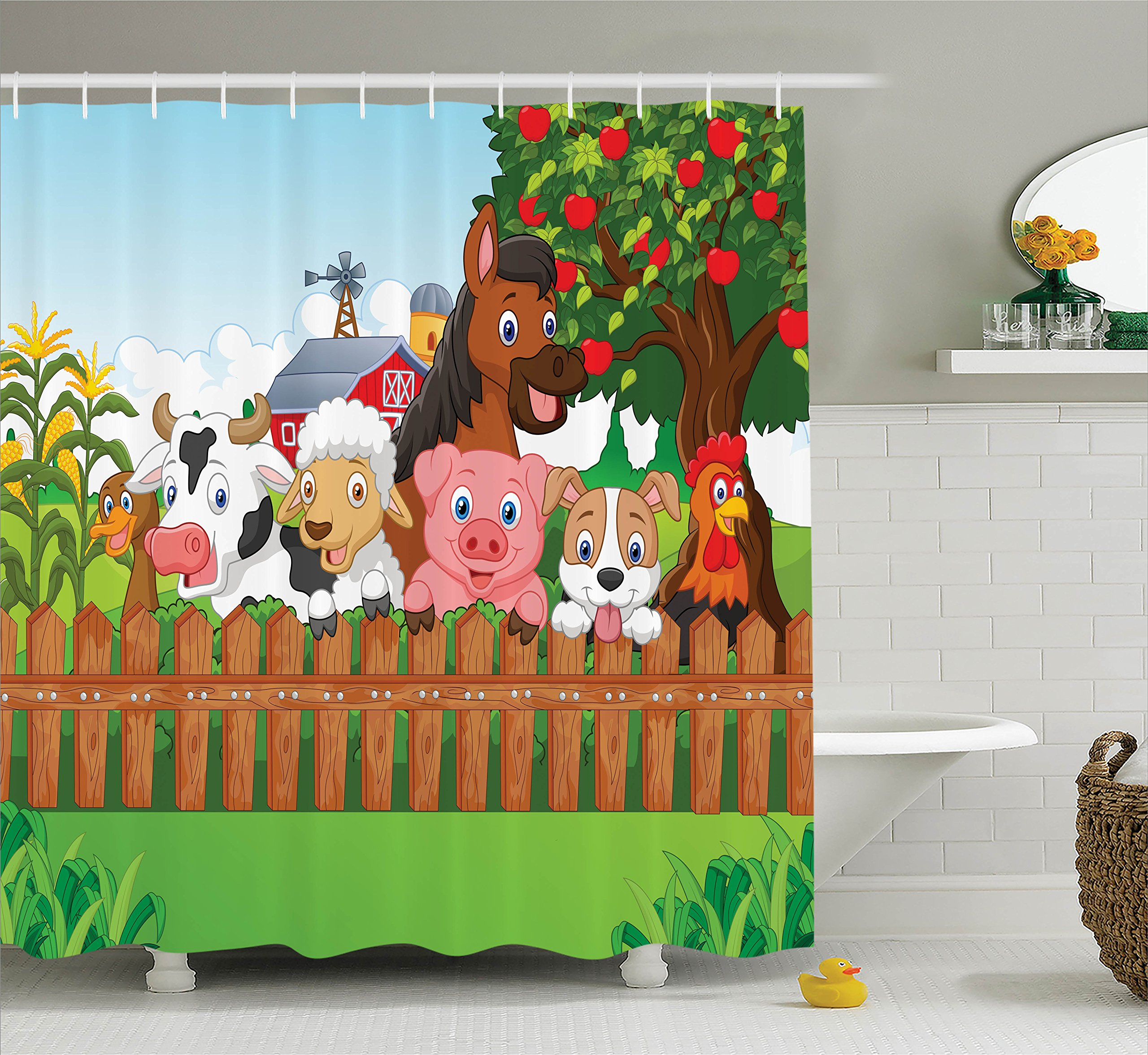 Kids Shower Curtain Cartoon Decor by Ambesonne, Cute Farm Animals on the Fence of Comic Mascots with Dog Cow Horse for Kids Decor, Fabric Bathroom Shower Curtain Set, 75 Inches Long, Multi