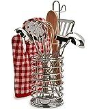 Kidzlane Cooking Utensils Set- Stainless Steel - Pretend Play Kitchen Accessories - 8 Piece Cookware Playset