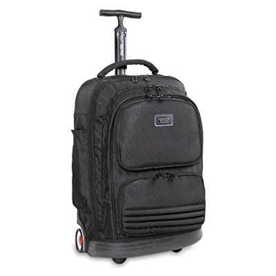 J World New York Brook Business Rolling Backpack, Black
