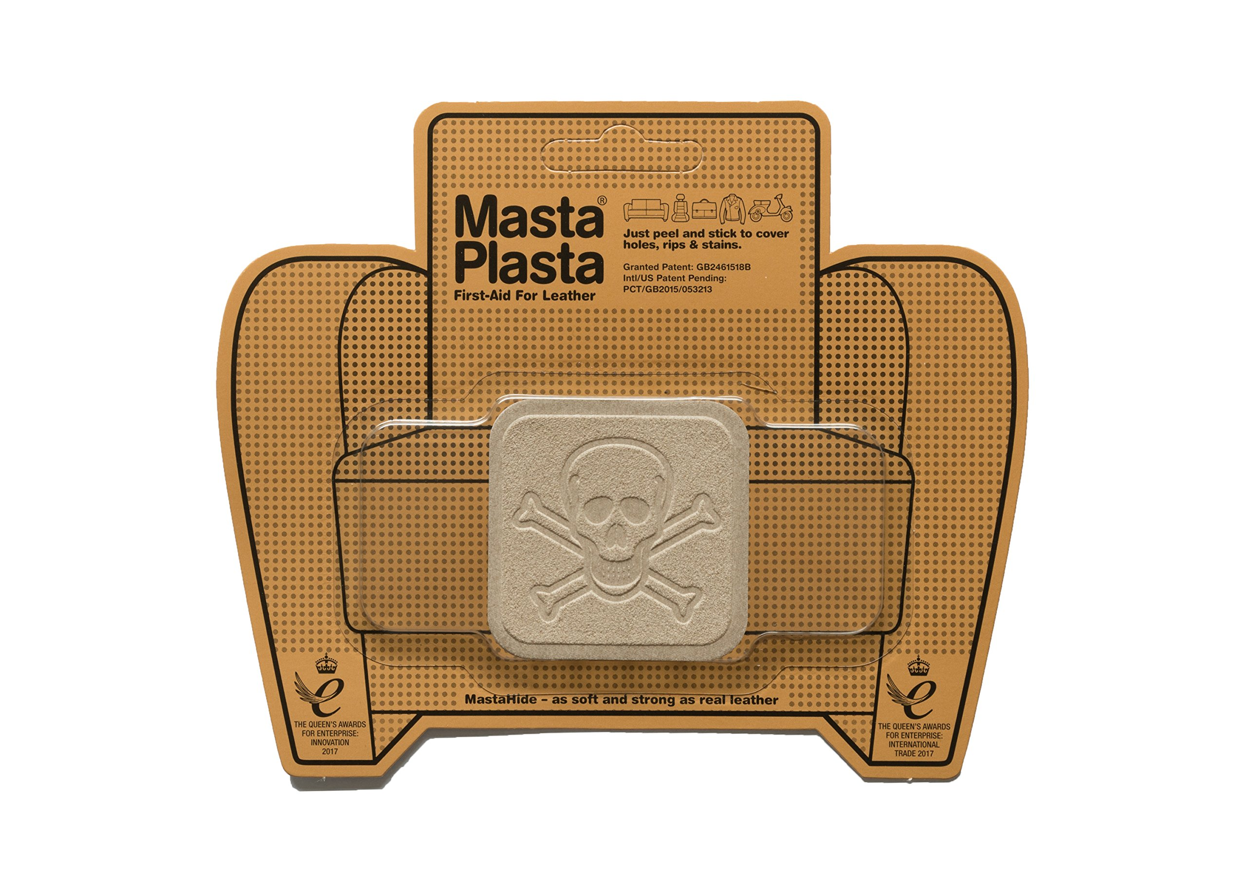 MastaPlasta, Leather Repair Patch, First-aid for Sofas Car Seats, Handbags Jackets, Beige Suede Pirate
