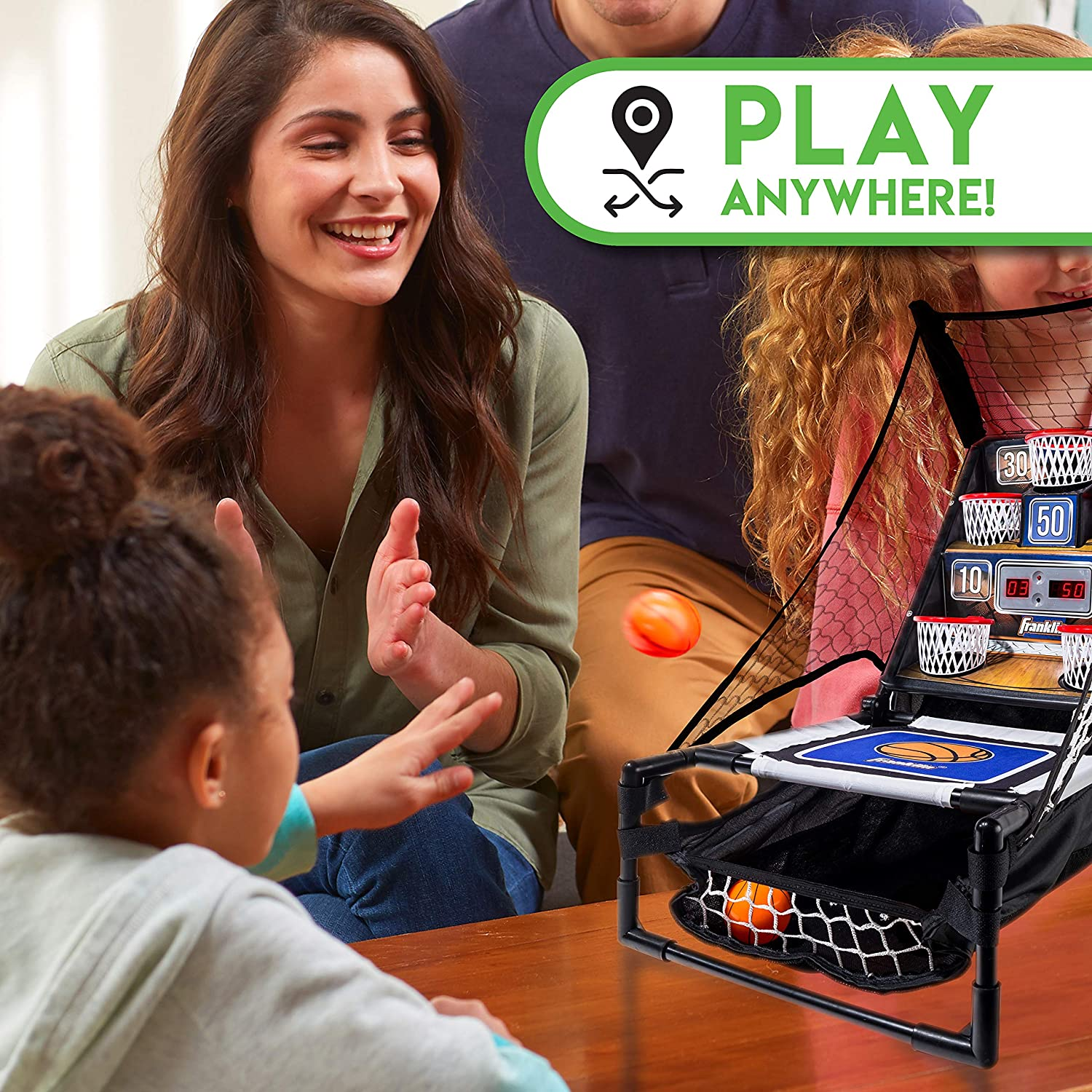 Franklin Sports Basketball Arcade Game - Table Top Bounce A Bucket Shootout- Indoor Electronic Basketball Game for Kids, Black, 21 x 11 x 19-Inch: Sports & Outdoors