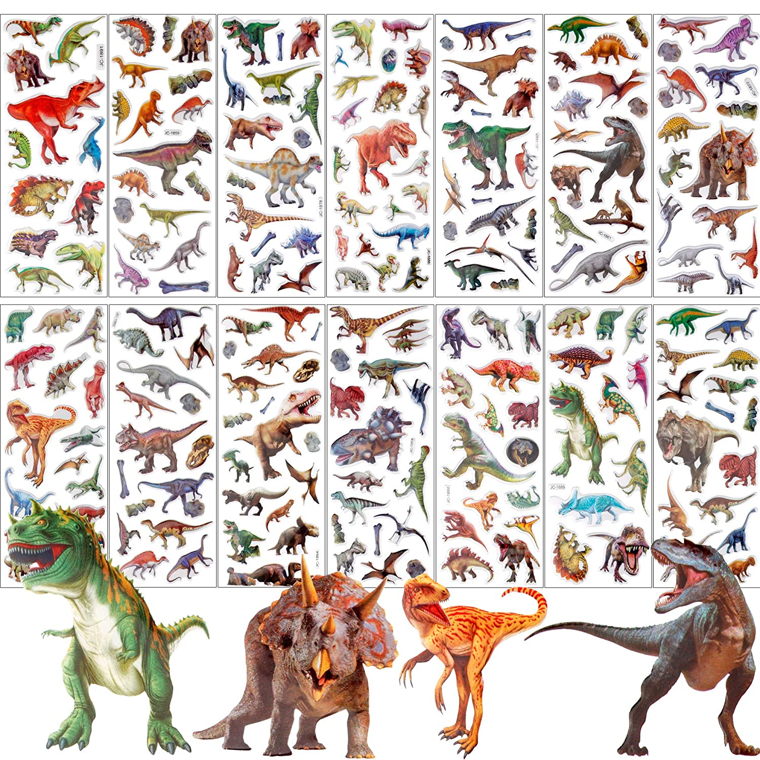 Craft Scrapbooking for Childrens 200+Count UPINS 14 Diffrent Sheets Kids Dinosaur 3D Puffy Stickers