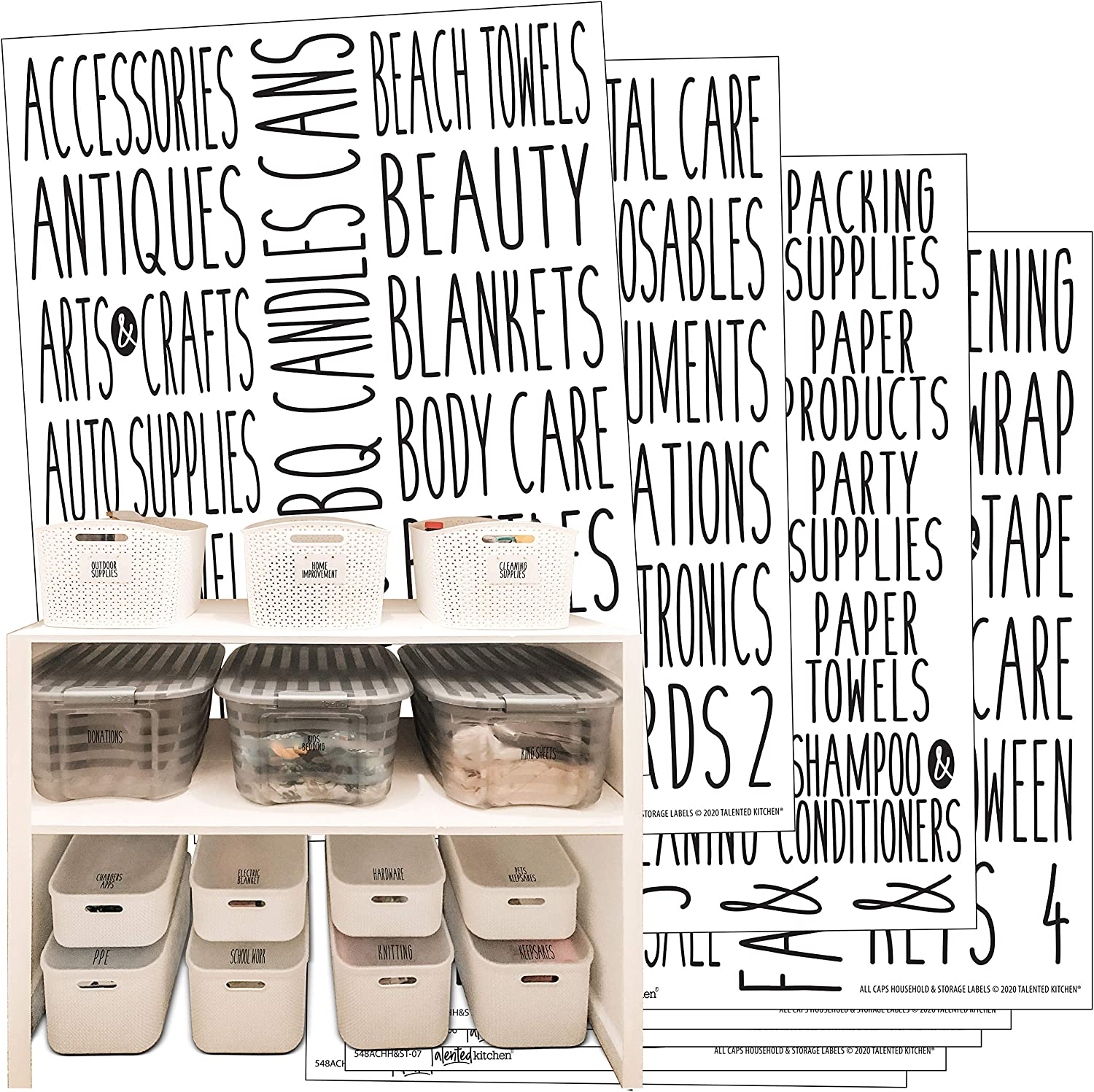 Talented Kitchen 138 Household & Storage Organization Labels. All Caps Black Preprinted Labels. Water Resistant Black on Clear Stickers. Bins, Boxes Organization System Labels. Holiday, Home Essential