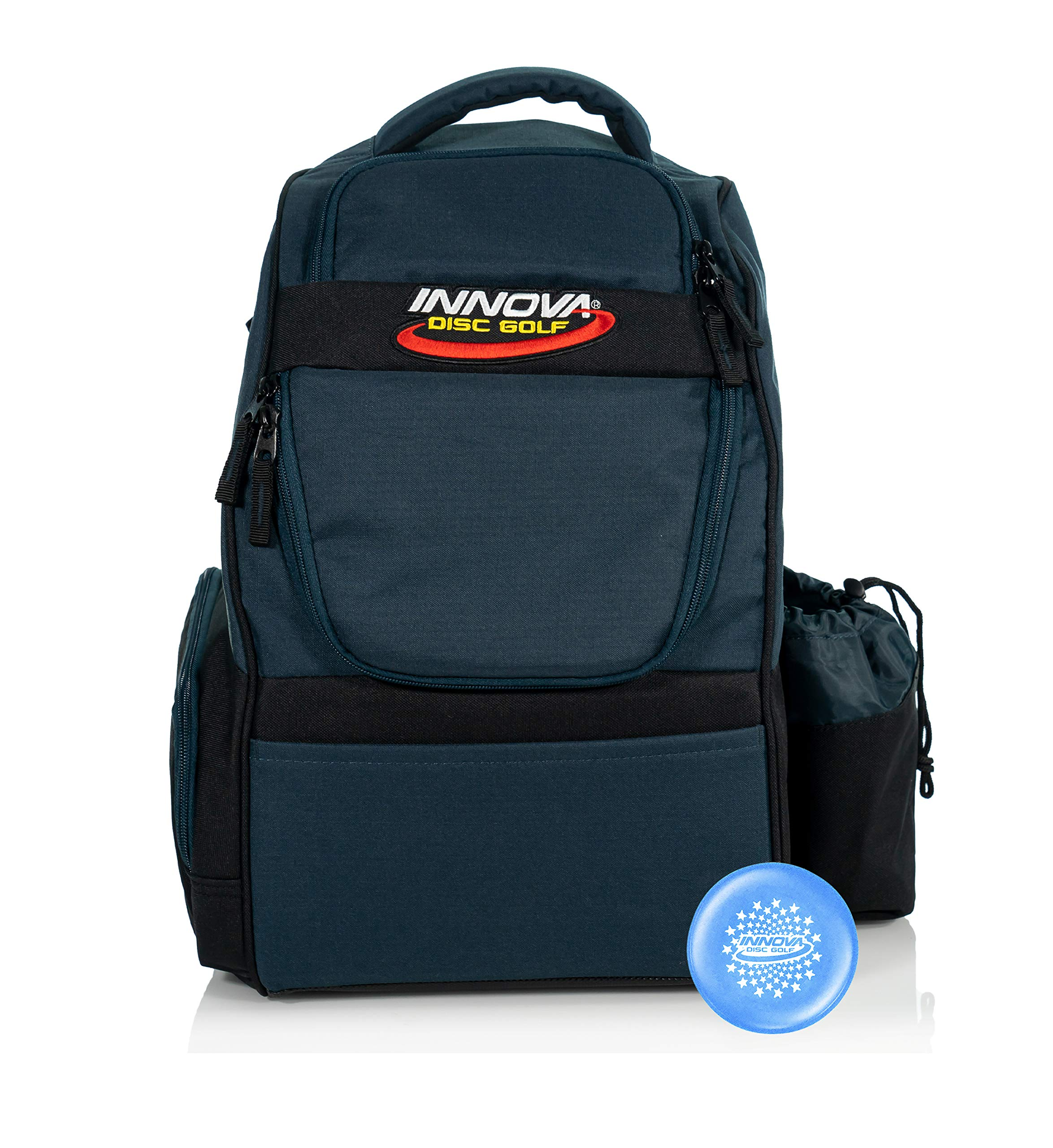 Innova Adventure Pack Backpack Disc Golf Bag - Holds 25 Discs - Lightweight - Includes Innova Limited Edition Stars Mini Marker (Navy/Black) by Innova Disc