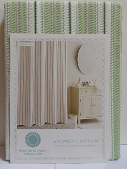 Martha Stewart Seersucker Sage Shower Curtain