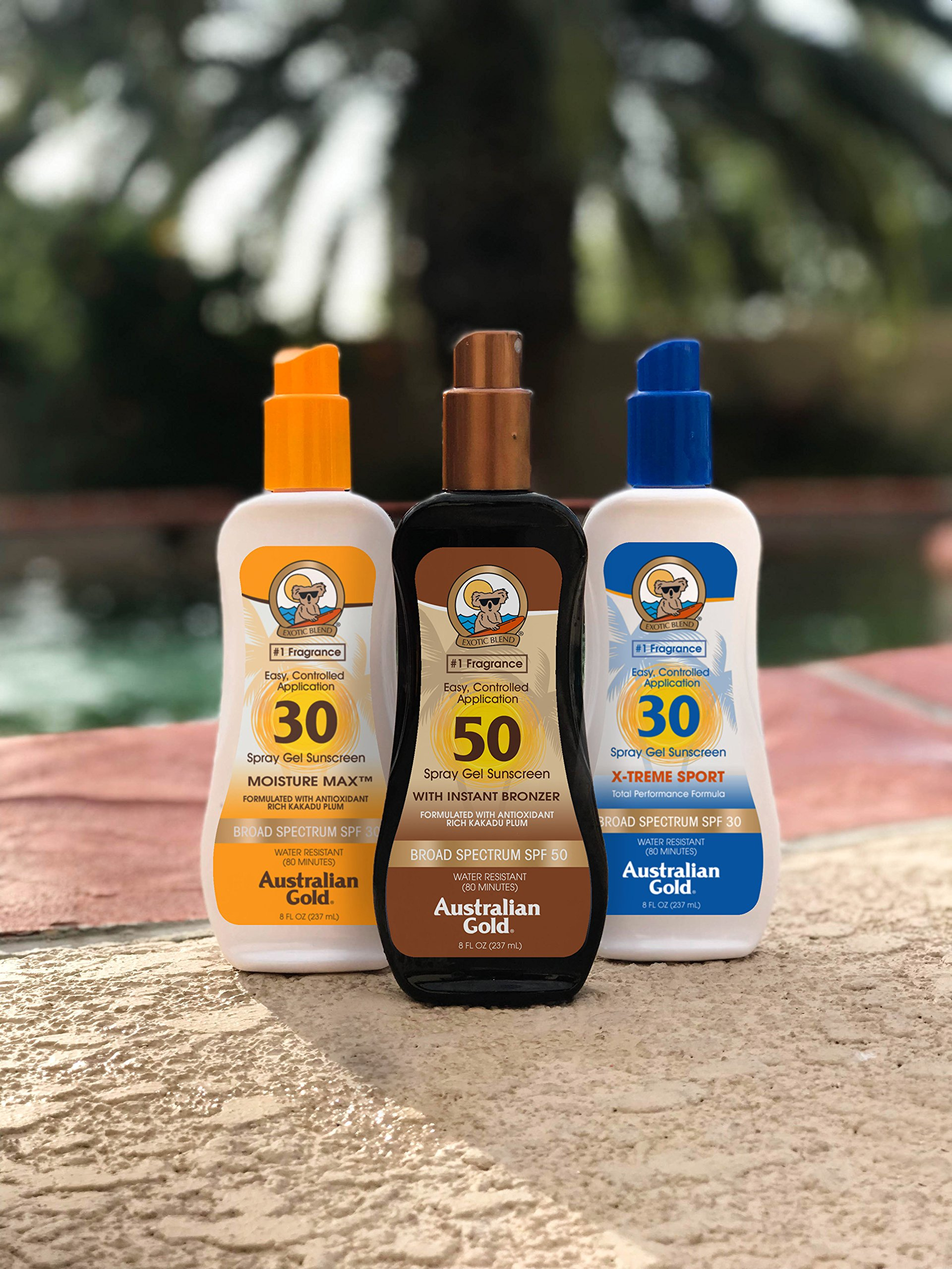 Australian Gold Spray Gel Sunscreen with Instant Bronzer SPF 50, 8 Ounce   Moisturize & Hydrate Skin   Broad Spectrum   Water Resistant