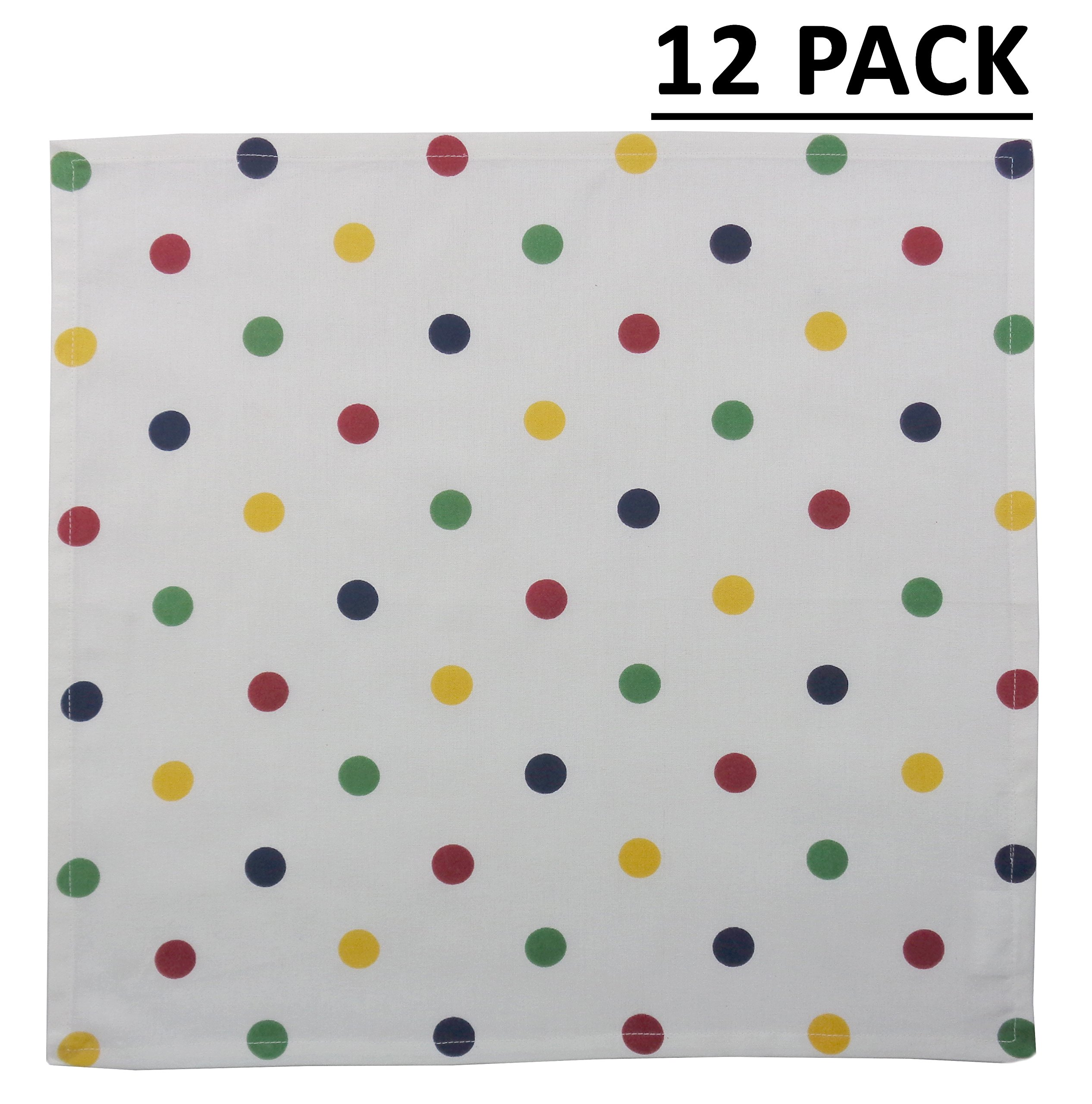 Cotton Craft - 12 Pack Confetti Multi Dot Oversized Dinner Napkins - Size 20x20-100% Cotton - Colorful & Playful Dots brighten your dinner setting - Tailored mitered corners and a generous hem