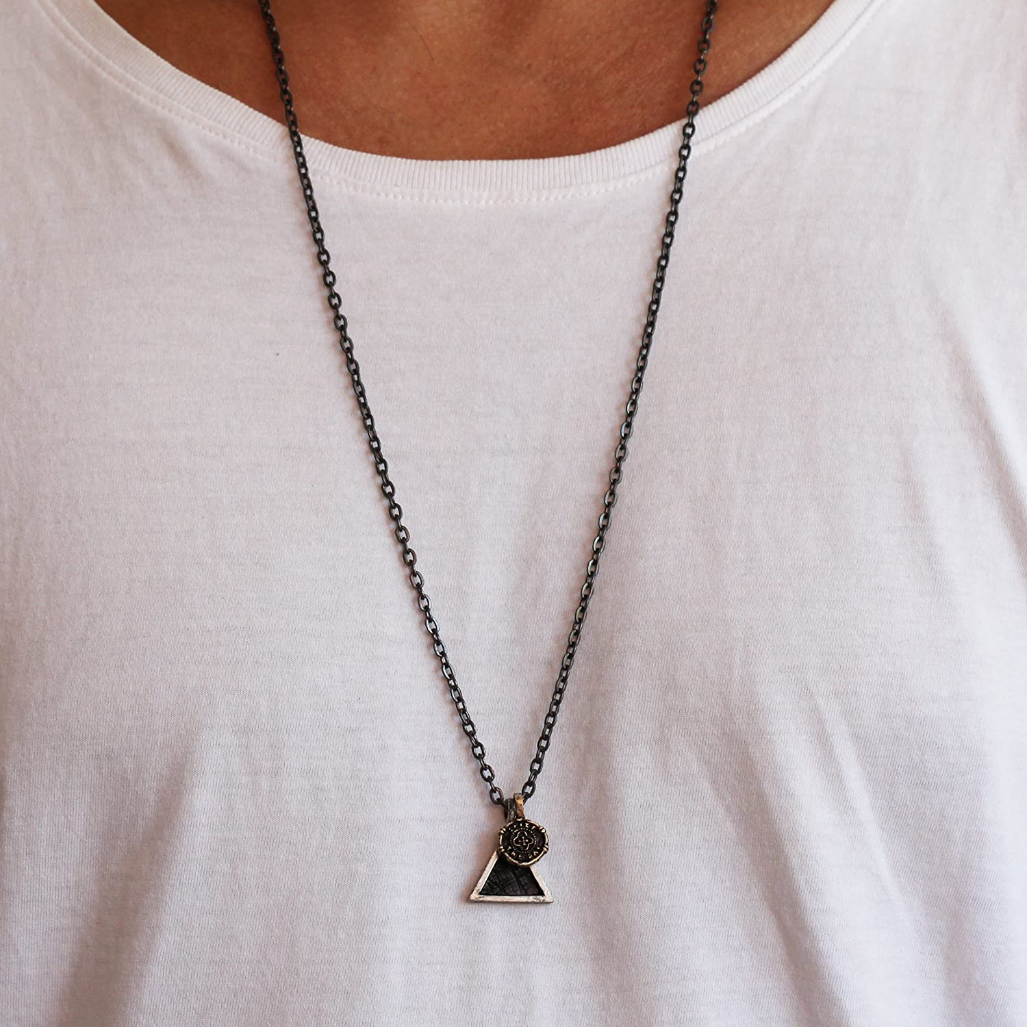 Amazon Com Triangle Necklace Mens Necklace Geometric Jewelry Mens