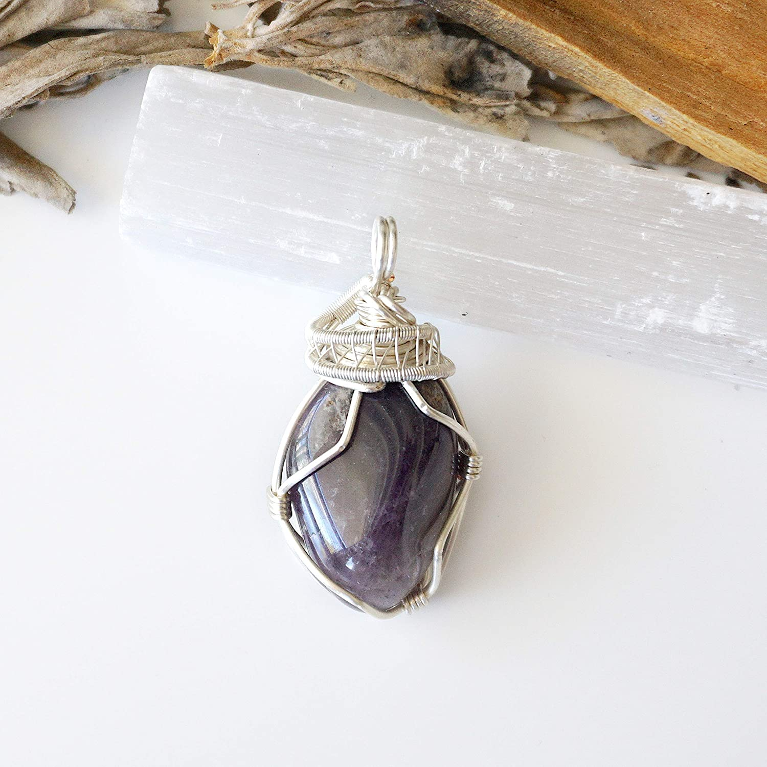 Raw LITHIUM Quartz Pendant ADHD This Healing Crystal can Assist Anxiety 58mm long Meditation Stress ADD 925 Silver Wire Wrap