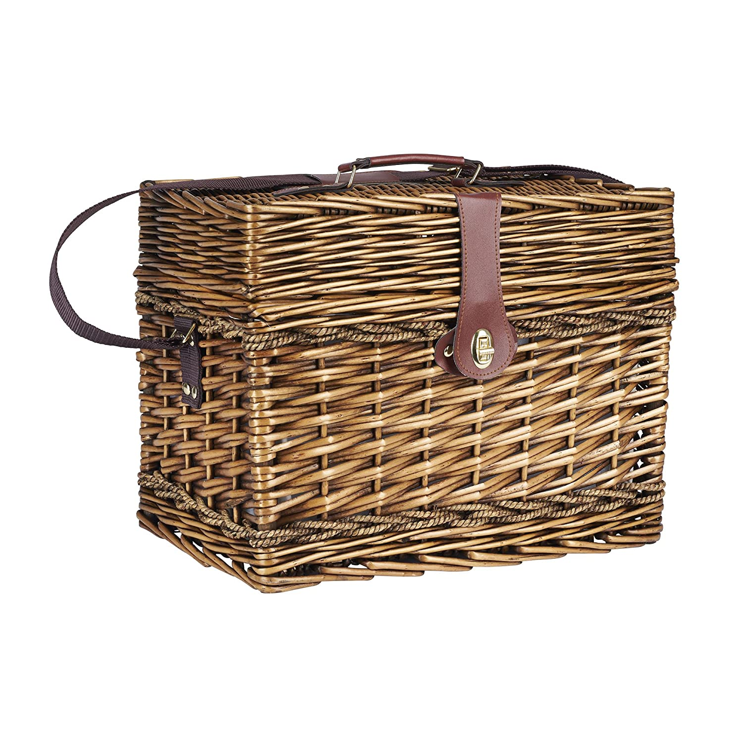 Household Essentials ML-2850 Large Bamboo Wicker Picnic Basket, Light Brown