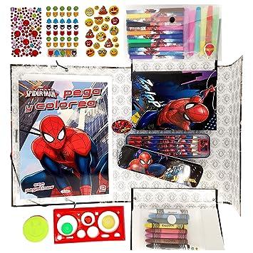 Almasoul Kit De Manualidades Para Niños Rotuladores Lapices De Colores Ceras De Colores Pegatinas Purpurina Libro Para Colorear Con