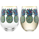 Elegant Home Personalized Gift Set of Two 19 Oz. Stemless Wine Glass - unique Novelty - Gag Gift. (Pineapple)
