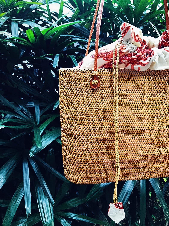 Woven Rattan Tote Basket Bag