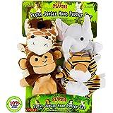 Hand Puppets Jungle Friends [Set of 4]   Elephant, Giraffe, Tiger & Monkey Stuffed Plush Animal Toys for Boys & Girls…