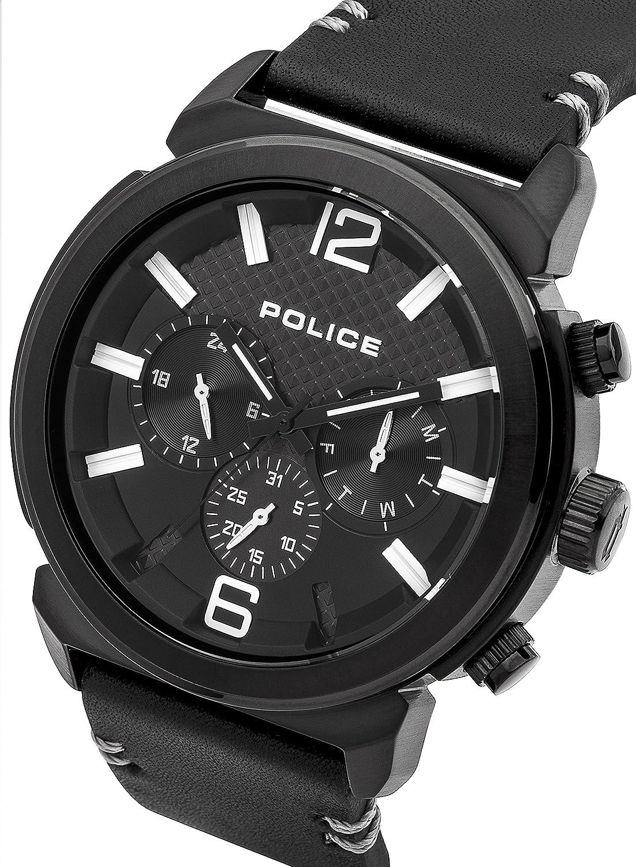 Police 14377JSB/02A - Reloj , correa de cuero color negro: Amazon.es: Relojes
