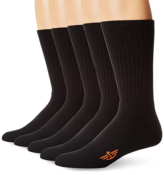 Dockers Mens 5 Pack Cushion Comfort Sport Crew Socks at Amazon Mens Clothing store: