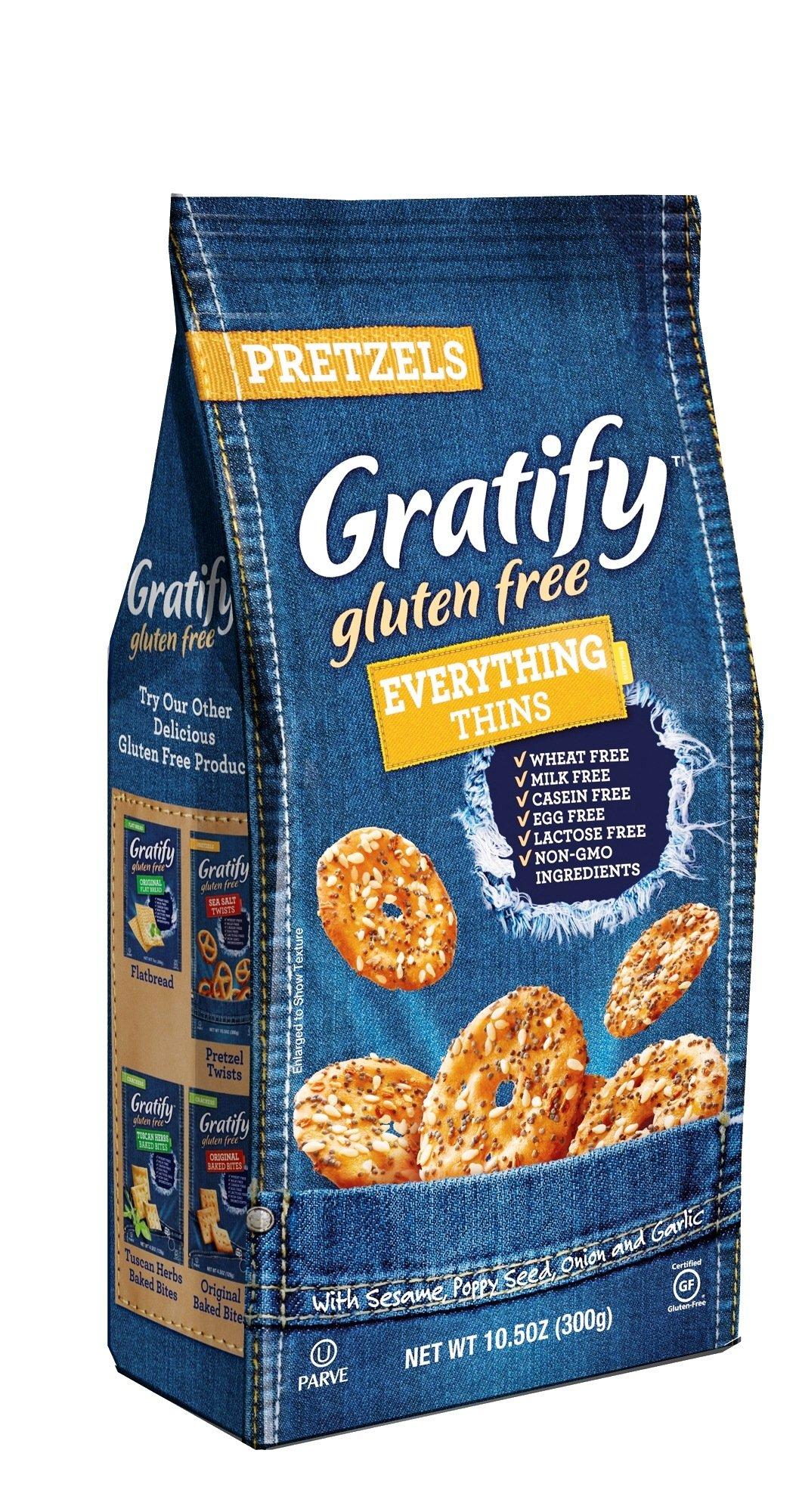 Gratify Gluten Free Pretzel Thins Everything Vegan GF Pretzel Crisps, 10.5oz Bag (Pack of 6) by Gratify
