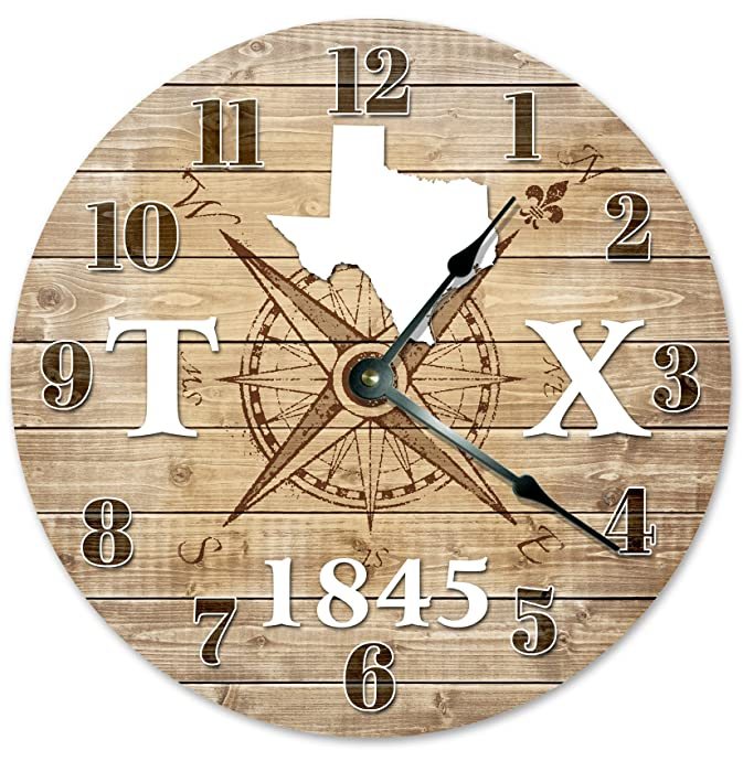 "TEXAS CLOCK Established in 1845 Decorative Round Wall Clock Home Decor Large 10.5"" COMPASS MAP RUSTIC STATE CLOCK Printed Wood Image"