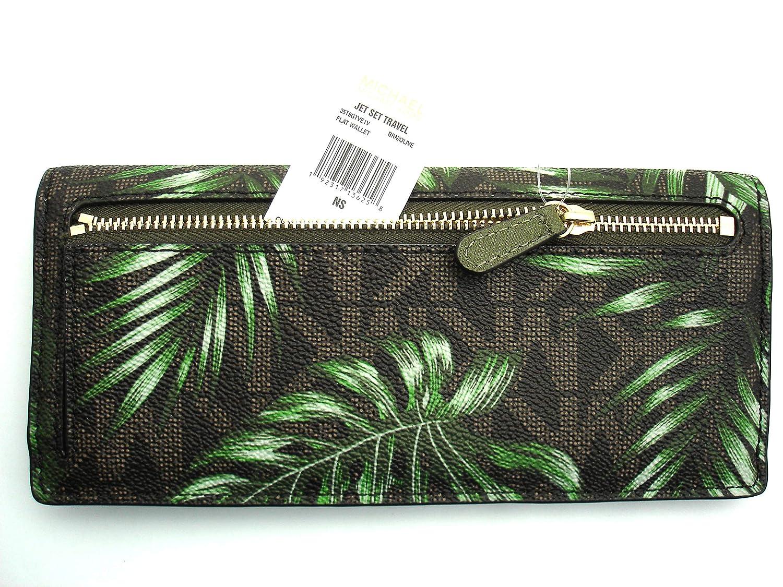 507fd86e194cb5 MICHAEL Michael Kors Women's Jet Set Travel Flat Wallet Case ID cards money  Holder (Brown) at Amazon Women's Clothing store: