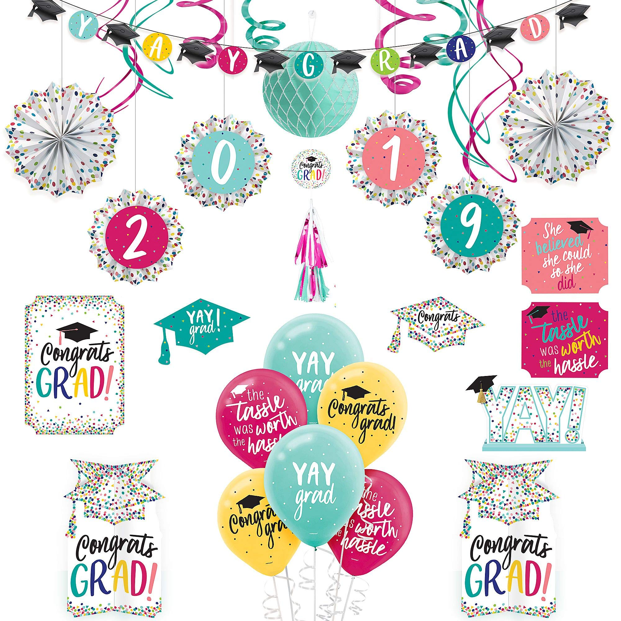 Party City Yay Grad Graduation Room Decorating Kit, Includes Balloons, Paper Fans, Swirls, and a Honeycomb Ball